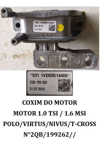 Coxim Do Motor 1.0 Tsi 1.6 Msi Volkswagen Polo Virtus Nivus