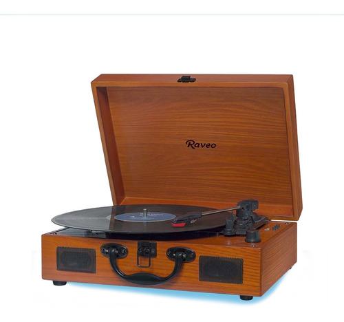 Vitrola Toca Discos Raveo Sonetto Wood Vinil Usb Bluetooth