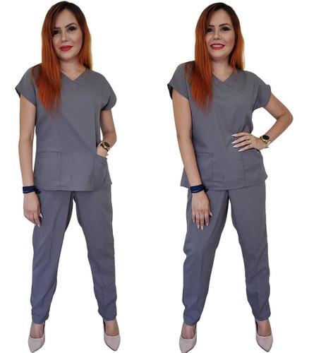 Pijama Cirúrgico Scrub Hospitalar Feminino Oxfordine + Brind