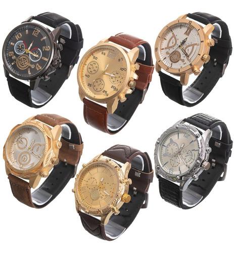 Kit Com 6  Relógios Masculino Pulseira De Couro Atacado