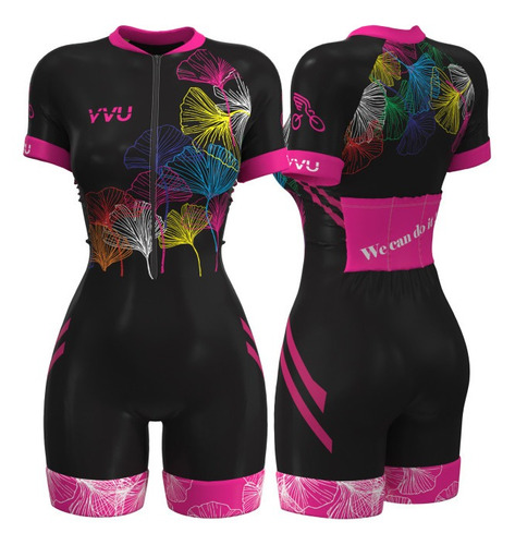 Macaquinho Macacão Ciclismo Feminino Yvu 1004 Forro Gel