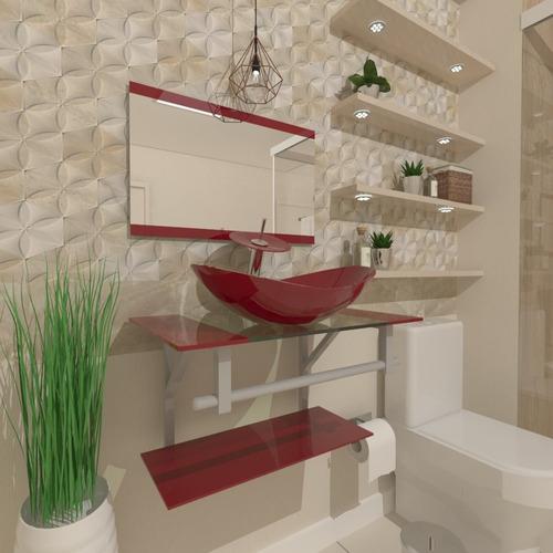 Gabinete De Vidro 60cm Cuba Oval Para Banheiro - Cores