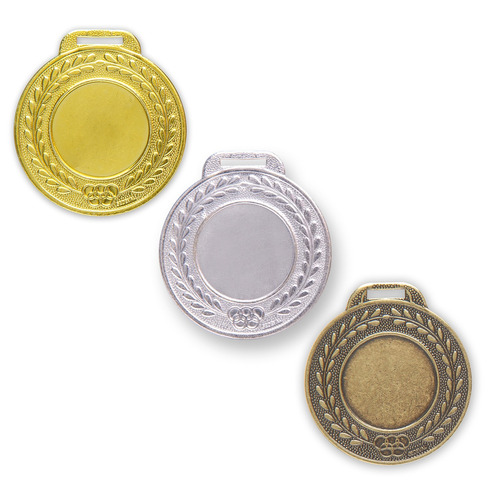 Kit 100 Medalhas Aço 44mm Lisa - Ouro Prata Bronze