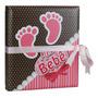 Álbum De Fotos 20x25 Meu Bebê Rosa 80 Fotos C/ Estojo E Fita
