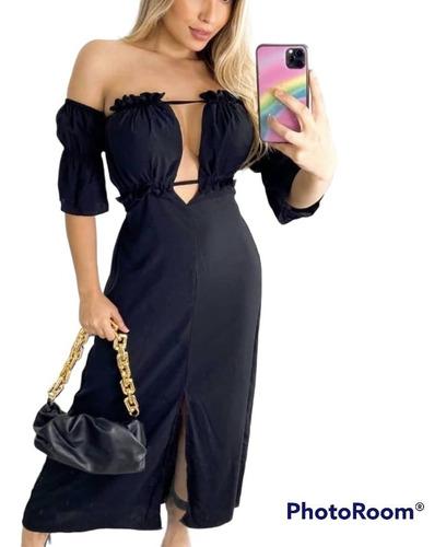 Vestido Longo Moda Feminina Tendência Bicolor Verão 2022