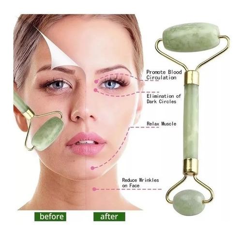 Massageador Facial Pedra Jade Rolo De Massagem Anti Estresse