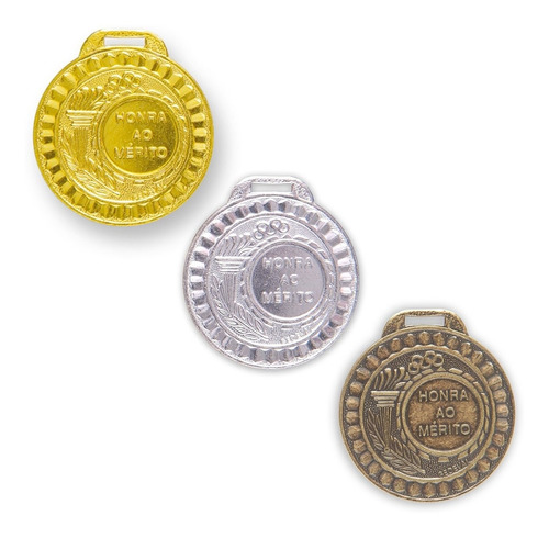 Kit 100 Medalhas Metal 35mm Honra Mérito - Ouro Prata Bronze
