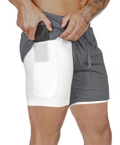 Shorts Esportivos Masculinos 2 Em 1 Treino Hip Fitness