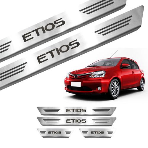 X Kit Friso Premium Toyota Etios Prata Soleira Em Aço Ino