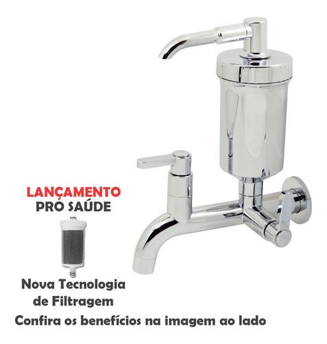 Torneira Com Filtro Cromada Parede Slim 1/4 De Volta
