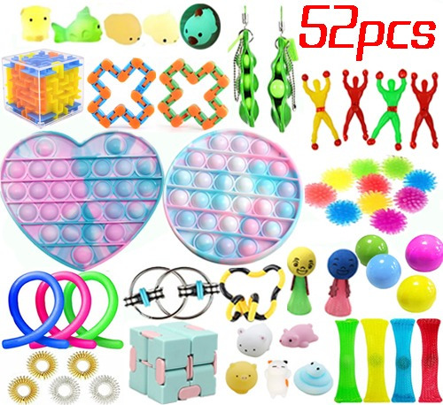 52 Peças Popit Bubble Fidget Sensorial Brinquedos Sensoriais
