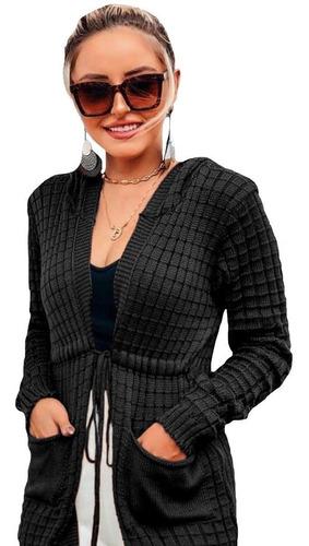 Blusa Feminina Frio Tricot Kimono Cardigan Casaco Capuz Lã
