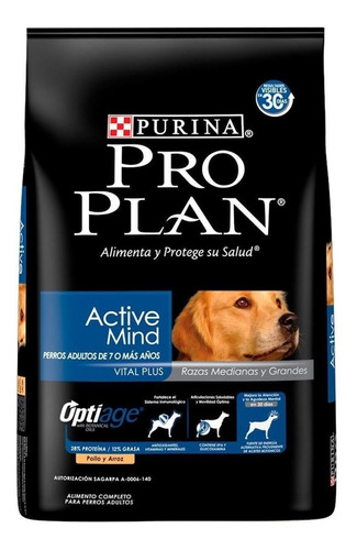 Alimento Pro Plan Optiage Active Mind 7+ Para Perro Senior De Raza Mediana Y Grande Sabor Pollo Y Arroz En Bolsa De 15kg