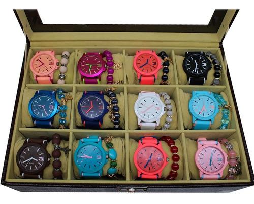 Kit 5 Relógios Feminino Esportivo + Pulseiras + Caixa + Bate