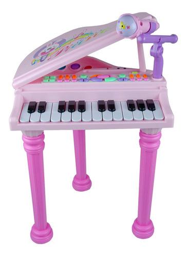 Piano Musical Infantil C/ Microfone E Banquinho Rosa