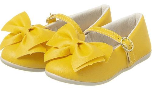 Sapatilha Menina Infantil Colorê Plis Calçados Amarela 065