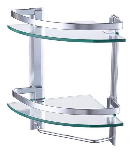 Estante Esquinero De Aluminio Y Vidrio Para Baño