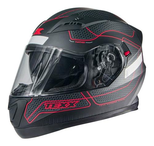 Capacete Moto Texx G2 Panther Dupla Viseira Vermelho Fosco
