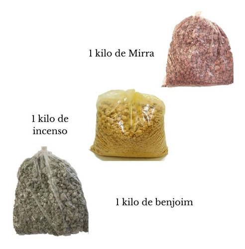 Kit Defumação-1 Kg Mirra-1 Kg Benjoim - 1kg Incenso Nacional