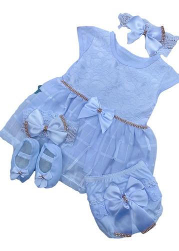 Vestido Luxo Rn A 8 Meses Renda Baby Kit 5 Pç Batizado Tiara