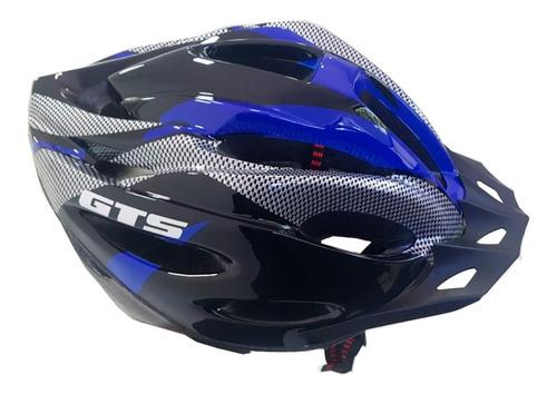 Capacete Com Sinalizador Led Ciclismo Bike Azul Com Preto