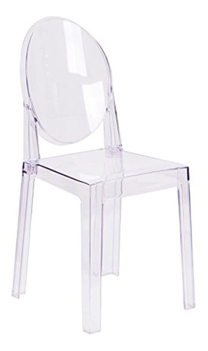 Flash Furniture Ghost Chair With Oval Back In Transparent Cr