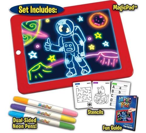 Tablet Dibujo Luz Led Magic Pad +6 Marcadores+ 30 Plantillas