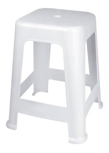 Banqueta Banco Plástica Mor Resistente Apilable Blanco