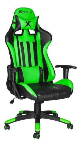 Silla De Escritorio Xtrike Me Gc-905 Gamer Ergonómica  Verde Y Negra Con Tapizado De Cuero Sintético