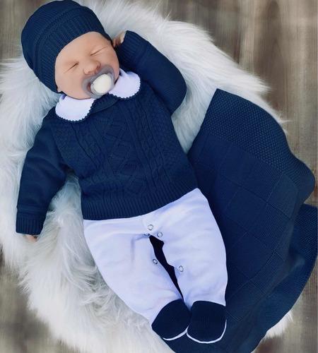Saída De Maternidade Tricô Menino Conforto Marinho