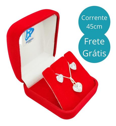 Kit Corrente Colar Prata 925 Ponto De Luz Coração + Brincos