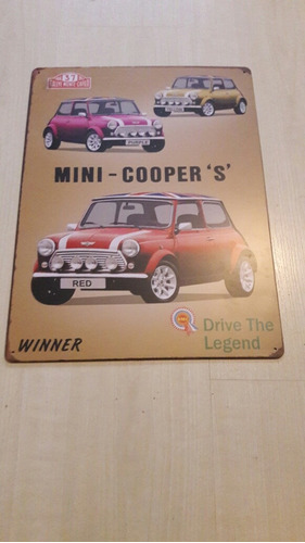 Chapa Adorno.vintage ,mini Morris.cooper.rally 45 X 32 Cm