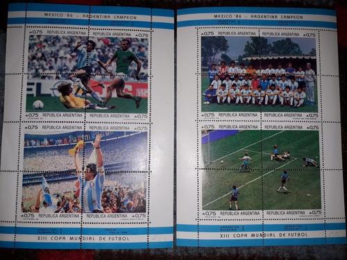 Lote Estampillas 2 Bloques Argentina Mundial '86