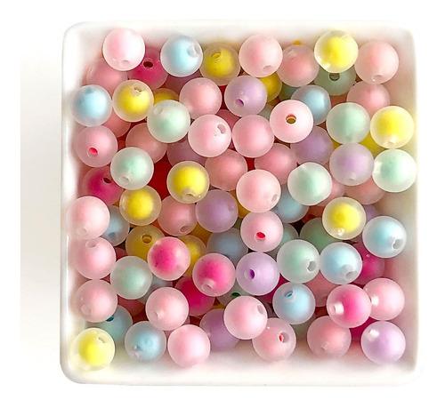 Miçanga Bola Fosca Com Miolo Candy Color 8mm, Aprox 400 Pçs
