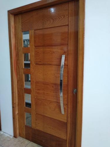 Porta Pivotante Angelim 2,14x1,16 Montada De Madeira Maciça