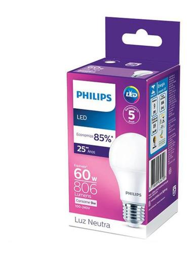 Lâmpada Led Philips 9w Bivolt Luz Branca 4000k Base E27