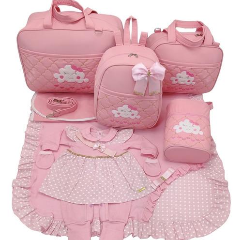 Kit Saida + Bolsa Maternidade 5 Pçs Nuvem Rosa Menina