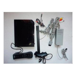 Nintendo Wii Negra Con Control Y Nunchuck + Barra Sensor