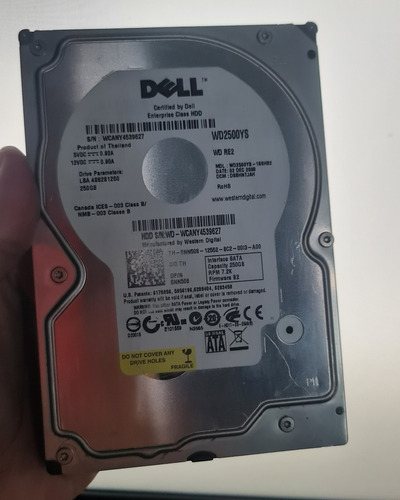 Hd Pc Dell 250gb Usado Testado Funcionando Garantia