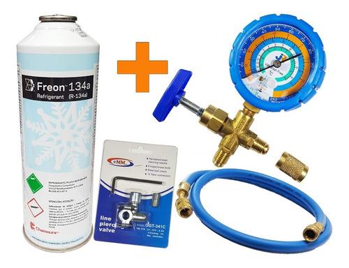 Kit De Carga De Refrigerante R134a Heladeras. Manifold Simple + Valvula Pinche + Gas R134 De 900g