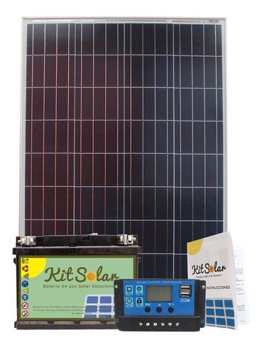 Kit Solar Con Panel 100w Fotocontrol Bateria De 65a Usb 12d