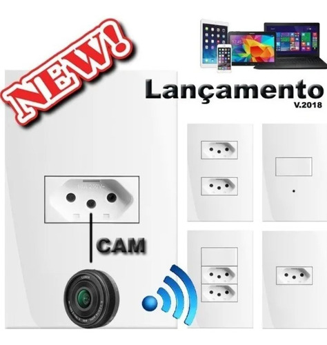 Tomada Espiã Tempo Real, Micro Câmera Wi-fi. Ip 2° Geração !