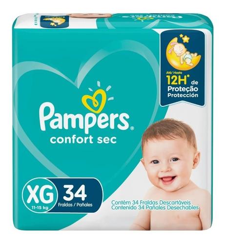 Fralda Infantil Pampers Confort Sec Xg