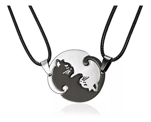 Collar Parejas Novios Acero Inox Cuero Yin Yang Gato Amistad