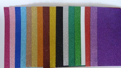 Foami Escarchado Carta - Colores Surtidos X 06 Unidades