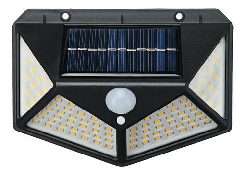 Luz Solar Refletor Para Jardim 100 Leds Com Sensor Movimento
