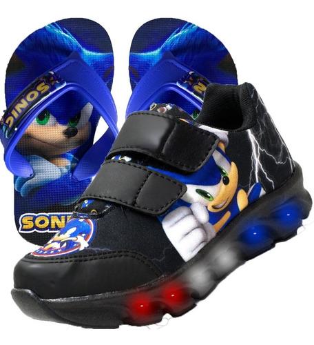 Tênis Infantil Led Sonic Personagem Lançamento + Chinelo
