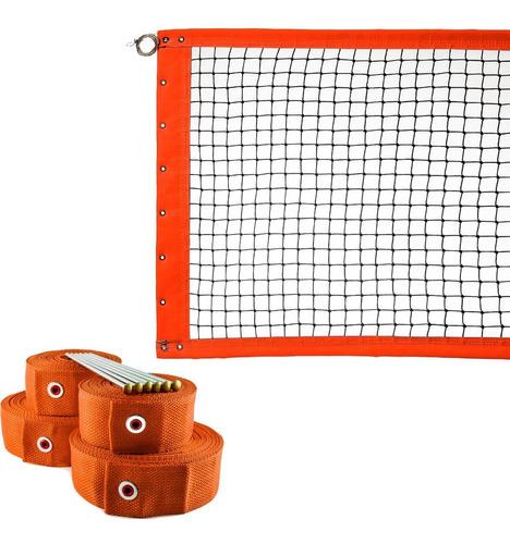 Kit Rede De Beach Tennis Oficial Duplas + Marcação Laranja