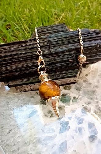 Pêndulo De Cristal Com Metal Na Ponta Para Radiestesia