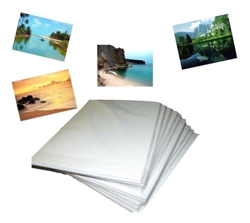 100 Papel Foto Glossy Adesivo 130g Brilho Prova D'agua A4
